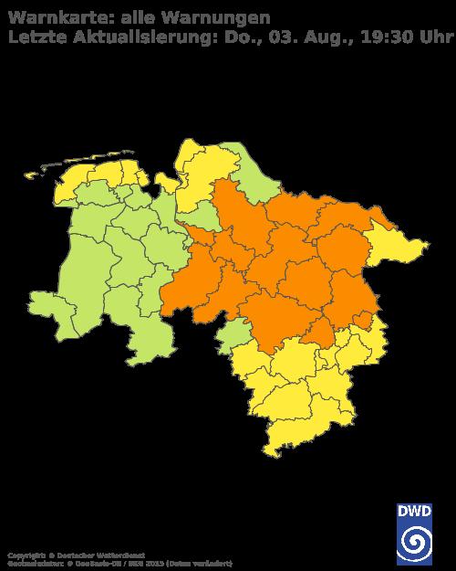 Aktuelle Wetterwarnungen für Goslar